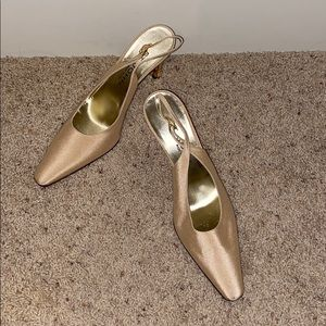 "St John bone silk sling back bling 3"" heel pump"